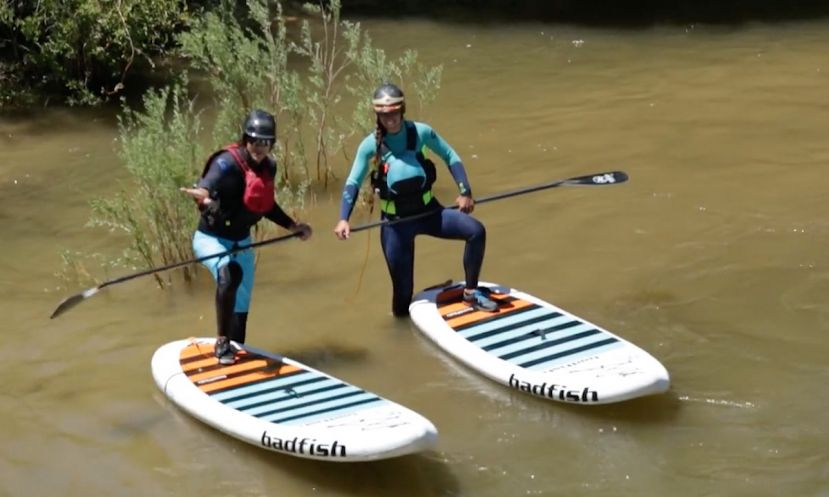 Mike Tavares and Natali Zollinger testing the new Rivershred model from Badfish SUP.