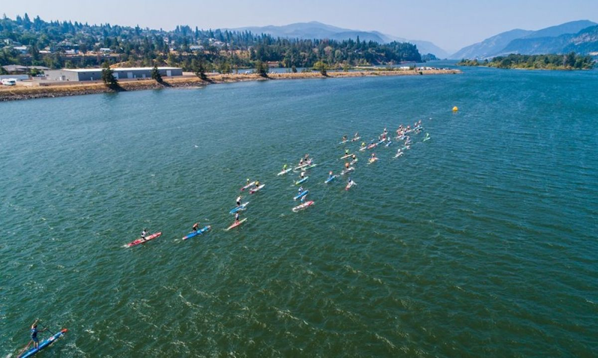2018 aerial shot of the Gorge Paddle Challenge. | Photo: Georgia Schofield