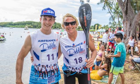 Champions of the 2018 Air France Paddle Festival - Marcus Hansen and Sonni Honscheid. | Photo courtesy: Georgia Schofield / The Paddle League