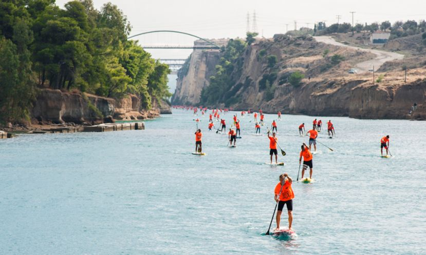 Paddlers exiting the Corinth Canal. | Photo: Hellenic Cup
