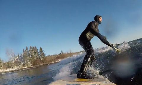 Jared Munch on a warmer-than-normal winter day on Lake Superior.