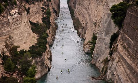 The amazingly beautiful Corinth Canal.