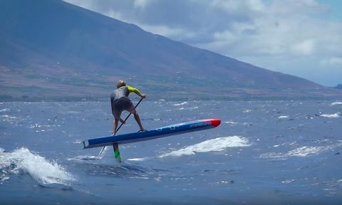 Connor Baxter on a test run of the new Go Foil SUP from Starboard.