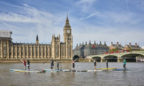 Paddle boarders on the Thames for the Big Ben Challenge 2017. | Photo Courtesy: Active 360 UK
