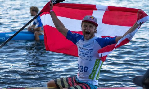 Hometown hero Casper Steinfath winning his 5th Gold medal in front of his entire country. | Photo: ISA / Sean Evans