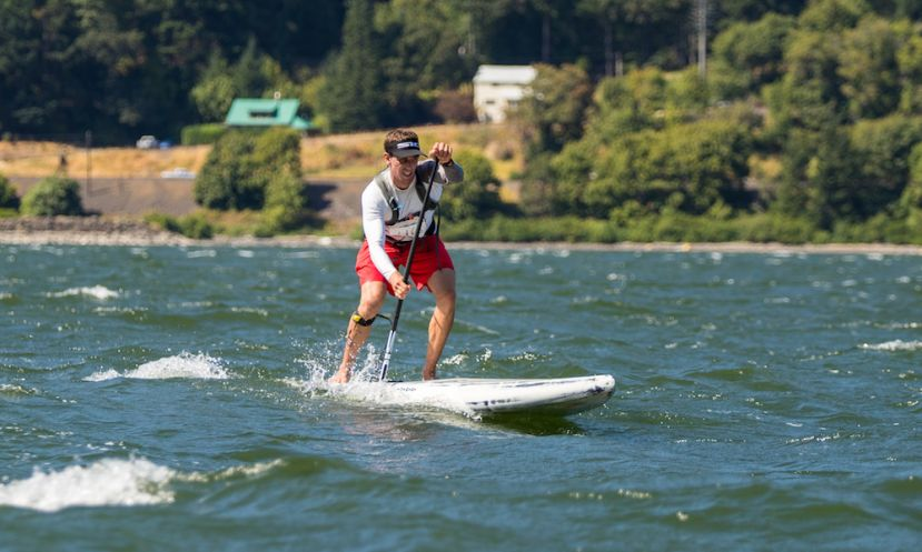 Kody Kerbox flying on the Bayonet at the 2017 Columbia Gorge Paddle Challenge. | Photo courtesy: SIC Maui