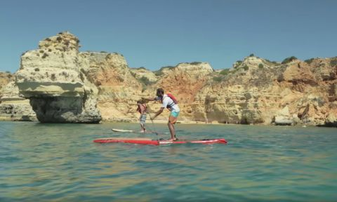 Paddling the area of the Algarve Caves in Portugal.