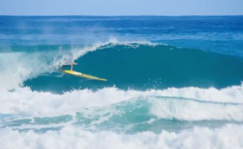 Noa Ginella SUP Surfs On Race Board