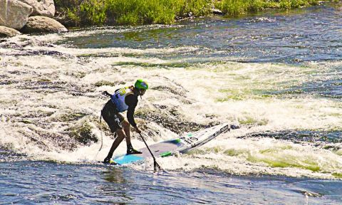 Rogue SUP rider and 2014 PRG champ, Fernando Stalla. | Photo Courtesy: Payette River Games Facebook